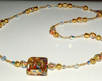 24K Gold Klimt Murano Glass Pendant and Beads Necklace with Crystals