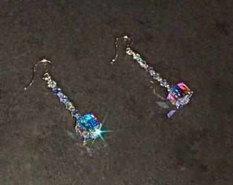 Beautiful Long Clear AB Crystal Cube Earrings