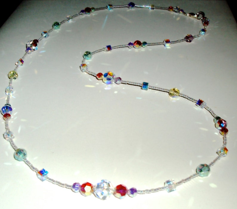 Sparkling Pastel Round and Cube AB Crystal Necklace