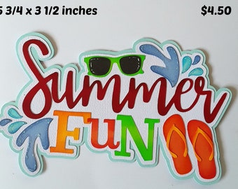BEACH MEMORIES TITLE summer beach girl  boy  piecing 3D die cut for premade scrapbook pages,album,cards by Rhonda