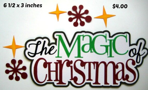 Magical Christmas paper piecing title premade scrapbook page Rhonda rm613art