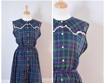 40s Dress / 1940s Dress / Vintage Dress / 40s Plaid Dress / Gingham Dress / 40s Day Dress / Sleeveless Dress / Shirtwaist Dress / Medium