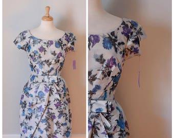 50s Dress / 1950s Dress / Vintage Dress / Bonwit Teller Dress / 50s Floral Dress / 50s Party Dress / Taffeta Dress / Silver / NOS / Small