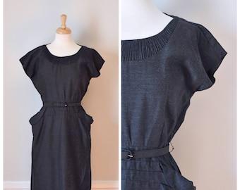 Vintage Dress / Vintage 50s Dress / Sheath Dress / 50s Day Dress / 50s Designer Dress / Gray Dress / Size Small