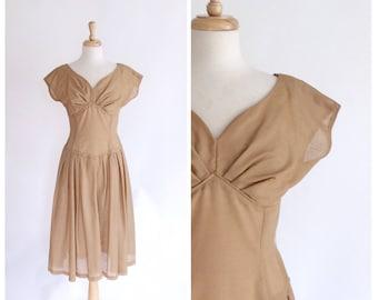 50s Dress / 1950s Dress / Vintage 50s Dress / Sheer Dress / Brown / Sweetheart Neckline / Vintage Dress / Fit and Flare Dress / Small