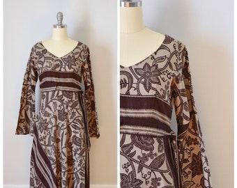 70s Maxi Dress / 70s Dress / Vintage 70s Dress / Boho Maxi Dress / Bohemian Dress / Hippie  Dress / Paisley Print / Empire Waist /  X Small