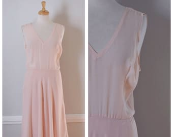 Vintage Dress / Vintage 80s Dress / 80s Dress / Sheer Dress / Tea Length / Pink / Miss Elliette / Sleeveless Dress / Size Small to Medium