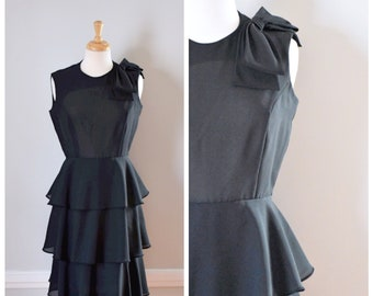 Vintage Dress / 60s Dress / Vintage 60s Dress / Sheer Dress / Black / Party Dress / Evening Dress / Cocktail Dress / Sleeveless / Small