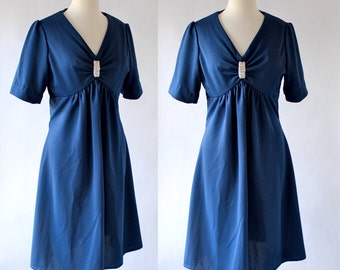 Vintage Dress / 60s Dress / Vintage 60s Dress / Polyester Day Dress / Blue / Empire Waist Dress / Short Sleeve Dress / Size Small