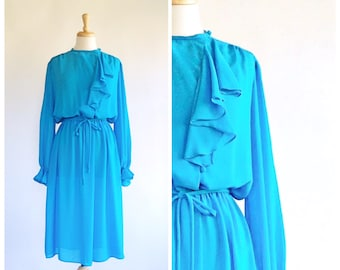 70s Dress / Vintage Dress / 1970s Dress / Sheer Dress / Boho Dress / Blouson Dress / 70s Day Dress / Long Sleeve / Blue / Size Small