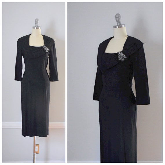 Vintage 40s 50s Black Crepe Dress