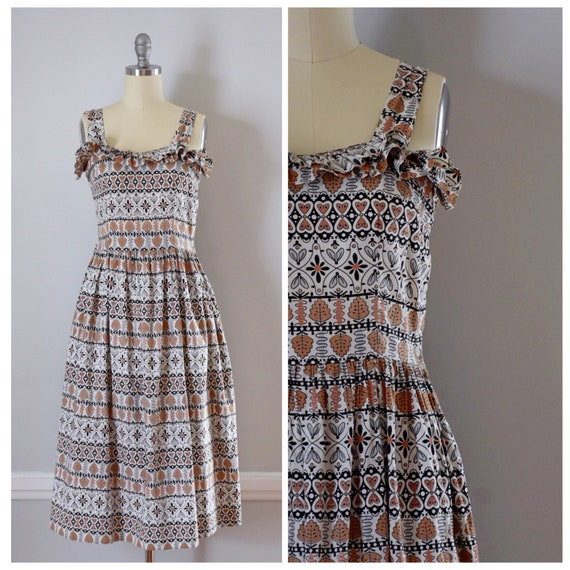 Vintage 50s 60s Novelty Print Dress