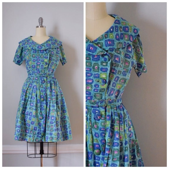 50s Vintage Shirtwaist Day Dress