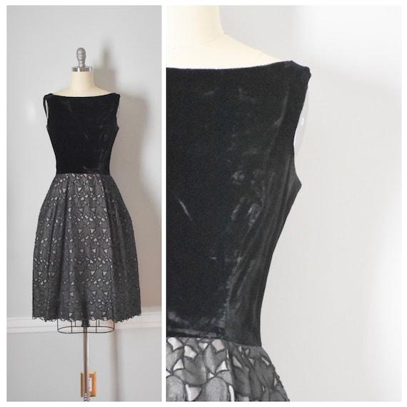 Vintage 50s Velvet and Lace Dress