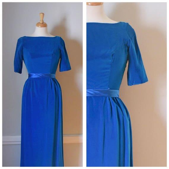 Vintage 60s Blue Velvet Dress