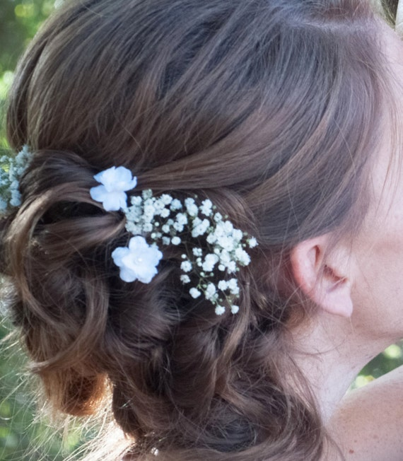 Small white flower hair pins set of two wedding bridal etsy image 0 mightylinksfo