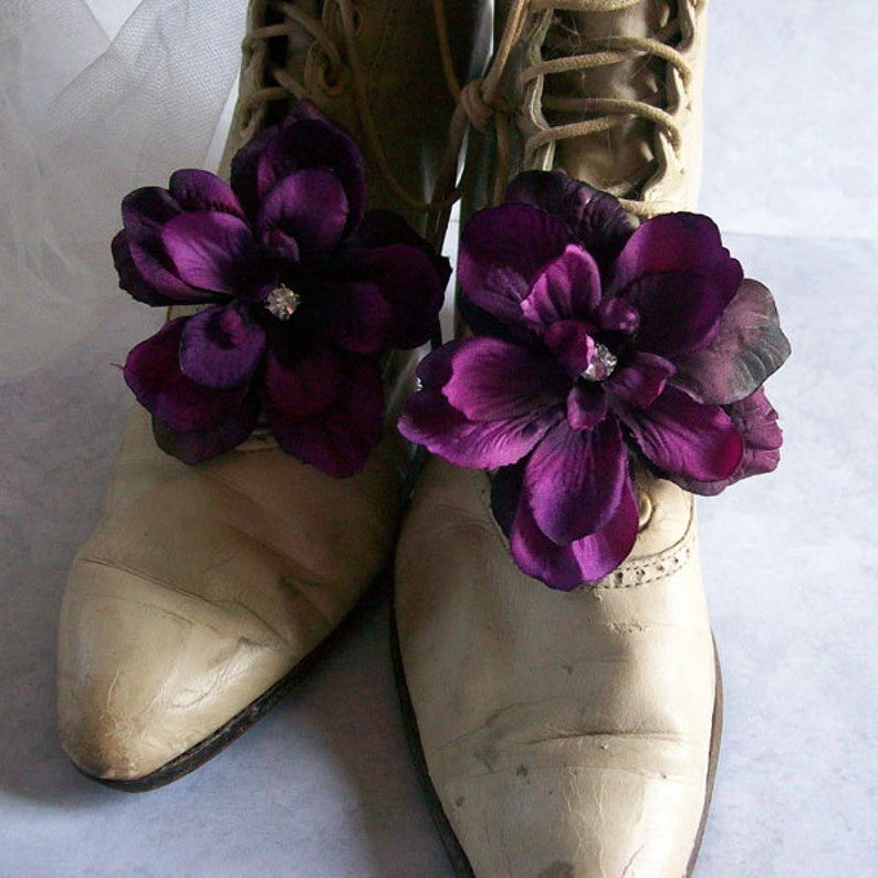 b0372c9649d4 Purple Shoe Clips Eggplant Dark Purple Wedding Shoe Clip