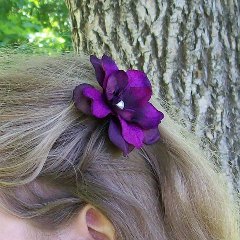 Purple Wedding Hair Flower Bridesmaids Brides Dark Purple Flower Hair Pin Flower Girl Made to Order