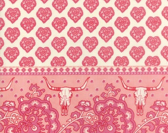 Spellbound Skull Double Border in Soul Pink,  Urban Chiks, 100% Cotton, Moda Fabrics, 31110 12