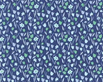 Aria Abloom in Navy, Kate Spain, 100% Cotton, Moda Fabrics, 27236 16