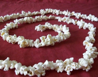 REAL Popcorn Garland Treated with Triple Thick Clear Acrylic 8 ft Hand Strung Old Fashioned Tree Garland Primitive - MADE to Order