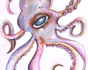 Octopus Dance-Original water color painting with pen and pencil detail-sea life-fish art-art fish-coastal-beach house-ocean-squid-whimsical