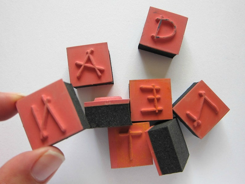 8pcs  LETTERS MIX Foam Rubber Stamps Pre-used Stamps