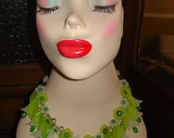 lucite floral statement necklace