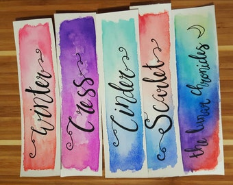 Lunar Chronicles Watercolor Bookmark, Cinder, Gift For Booklover, Young Adult Bookmark