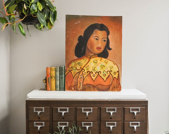 Vintage Painting on Board - Chinese Girl by Vladimir Tretchikoff - Signed R.A. Galloway 1961