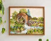 Vintage Framed Country Scene Embroidery - Needlepoint and Crewel Wall Hanging