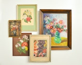 Vintage Hand-Painted Original Floral Painting - Flower Bouquet