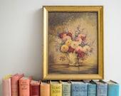 Vintage Framed De Camp Floral Pint