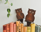 Vintage Pair of Small Wooden Owl Shaped Wall Shelves