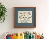 Vintage Framed Iowa Cross Stitch