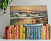 Vintage Beach Sunset Lithograph Wall Hanging - Free Shipping