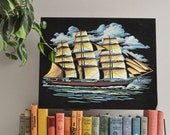 Vintage Velvet Clipper Ship Paint by Number Painting