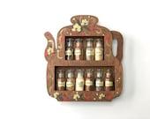 Vintage Wooden Teapot Shaped Spice Rack