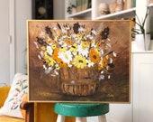 Vintage flower Basket Painting