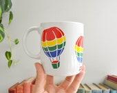 Vintage Rainbow Hot Air Balloon Mug