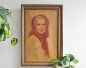 Vintage Lady in Red Scarf Framed Portrait