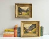 Mid-Century Pair of Original Signed Landscape Paintings