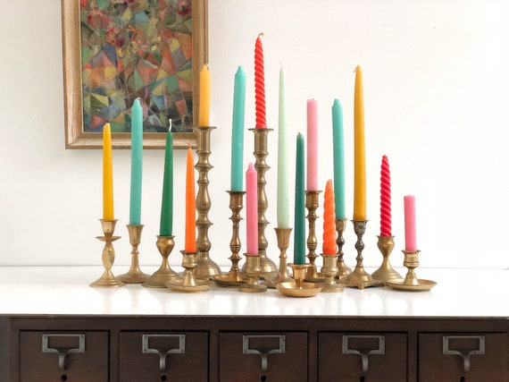 Vintage Brass Candle Holders Collection - Sixteen Brass Candle Holders