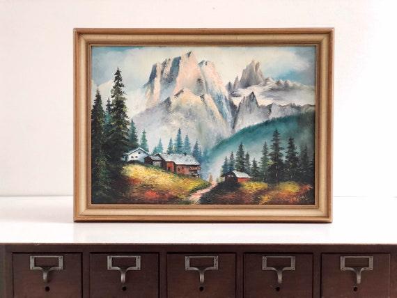 Vintage Framed Mountain and Cabin Landscape Painting