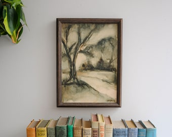 Vintage Original Abstract Woodland Painting on Canvas - Signed and Framed