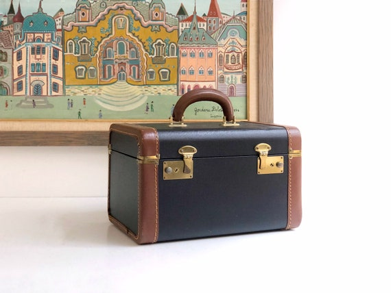 Vintage Black Train Case with Leather Edging