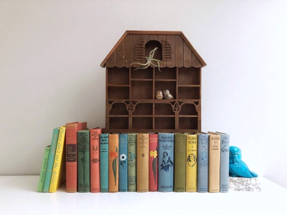 Vintage House Shaped Wooden Wall Shelf