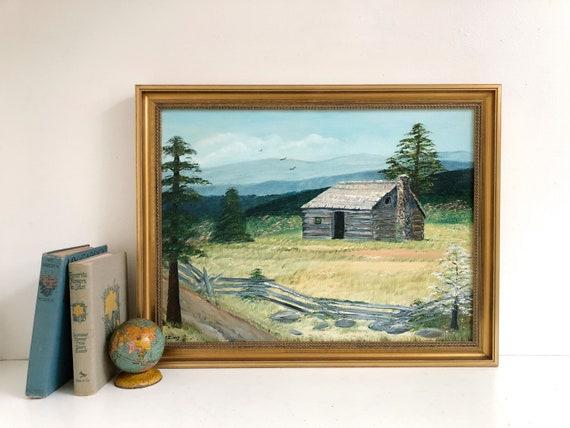Vintage Framed Oil Landscape Painting - Barn Scene