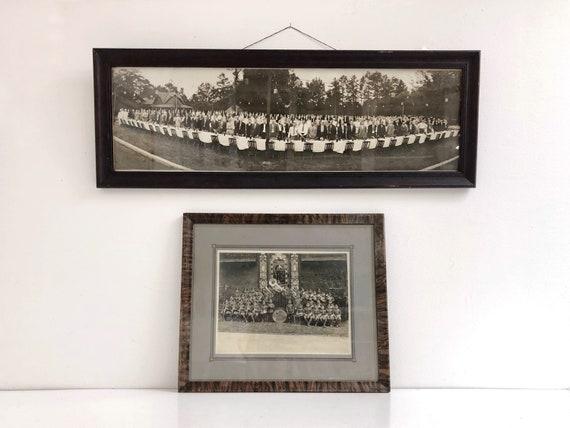 Antique Black and White Employee Gathering Yardlong Photograph