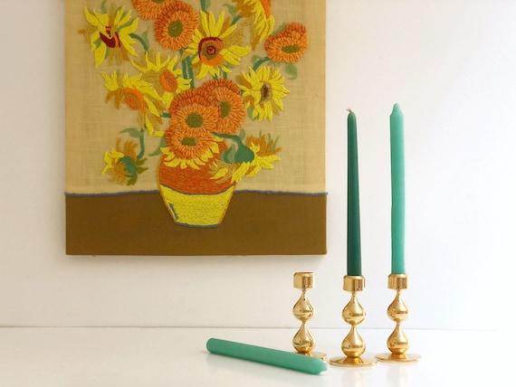 Vintage Modernist 24-Carat Gold-Plated Candle Holders by Hugo Asmussen